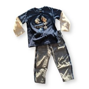 3/$12 Child of Mine Football Two Piece Outfit 24mo